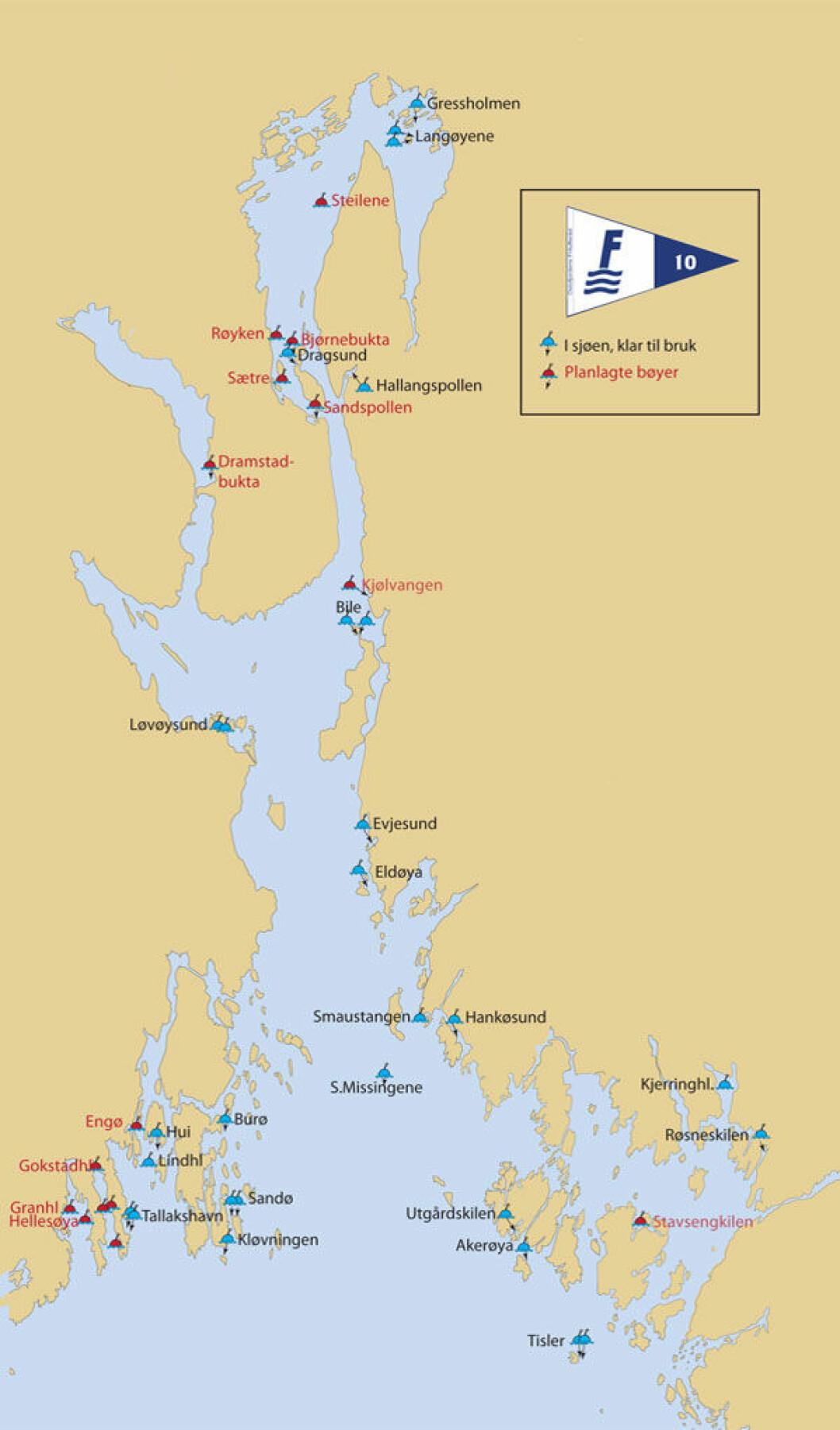 Oslofjorden Friluftsråd med 40 svaibøyer