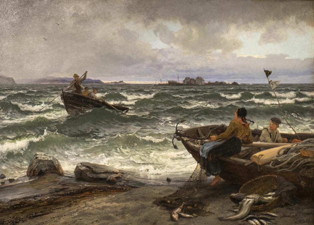FRA LISTA: Dette bildet henger på Slottet og ble malt av Hans Gude i 1883. Det bærer tittelen «Strandbilde fra Lista».