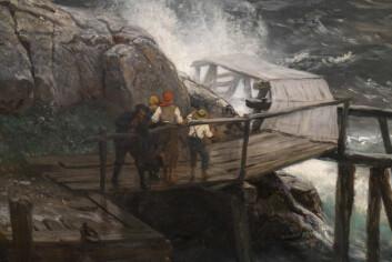 DETALJER: Det er en imponerende detaljrikdom i bildene som vises frem. Dette er en detalj fra bildet «Nødhavn ved den norske kyst. Skudeneshavn, 1880» av Hans Gude.