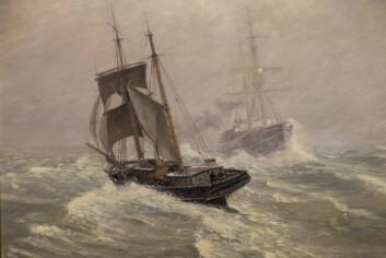 FORDRIVES: Seilskuteæraen er på hell og dampen kommer. Det siste bildet i utstillingen som heter «Snetykke» og er malt av Nils Hansteen.