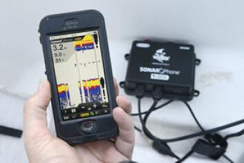 ENKEL: Vexilar Sonar Phone består av en svinger og en boks som sender over Wi-Fi. Det finnes også en gratis app som kan brukes for å finne dybder, fisk eller vanntemperatur.