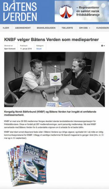 FOR TIDLIG: Før avtalen mellom Båtmagasinet og KNBF var gått ut publiserte Båtens Verden en annen avtale.