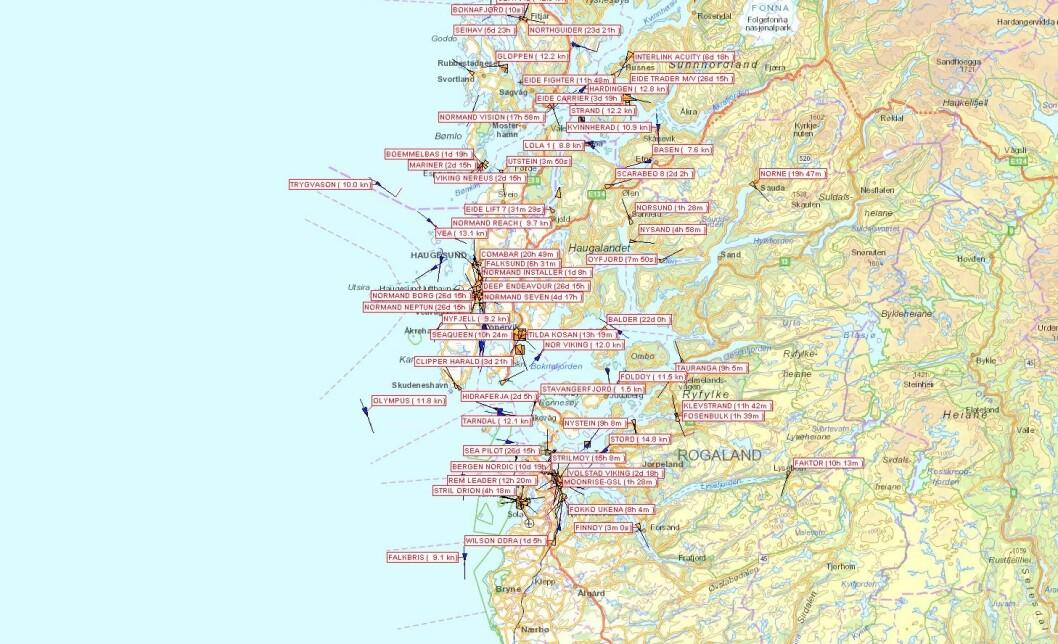 TRAFIKK: Tjenesten gjør det mulig å følge skipstrafikken langs kysten av Norge.