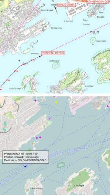 DIREKTE: Den nye tjenesten er i sanntid i motsetning til Marine Traffic hvor Nesoddfergen «Prinsen» lagger med ett minutt.