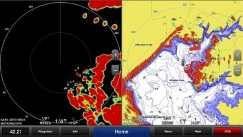 LAG: Det er mulig å kjøre to radarbilder samtidig med ulike zoomnivåer. På det ene bildet ligger radarbildet over kartet som gjør det enklere å forstå.