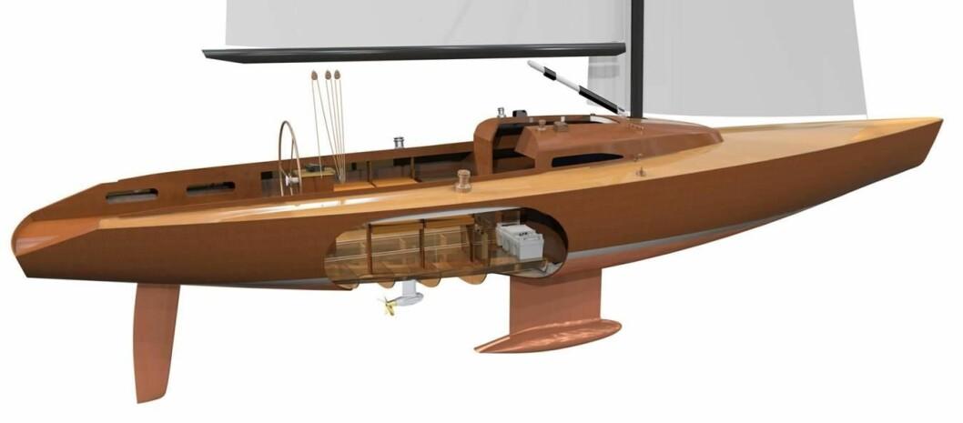 KOMPAKT: Med motoren plassert under skroget, så frigjøres det plass inne i båten.