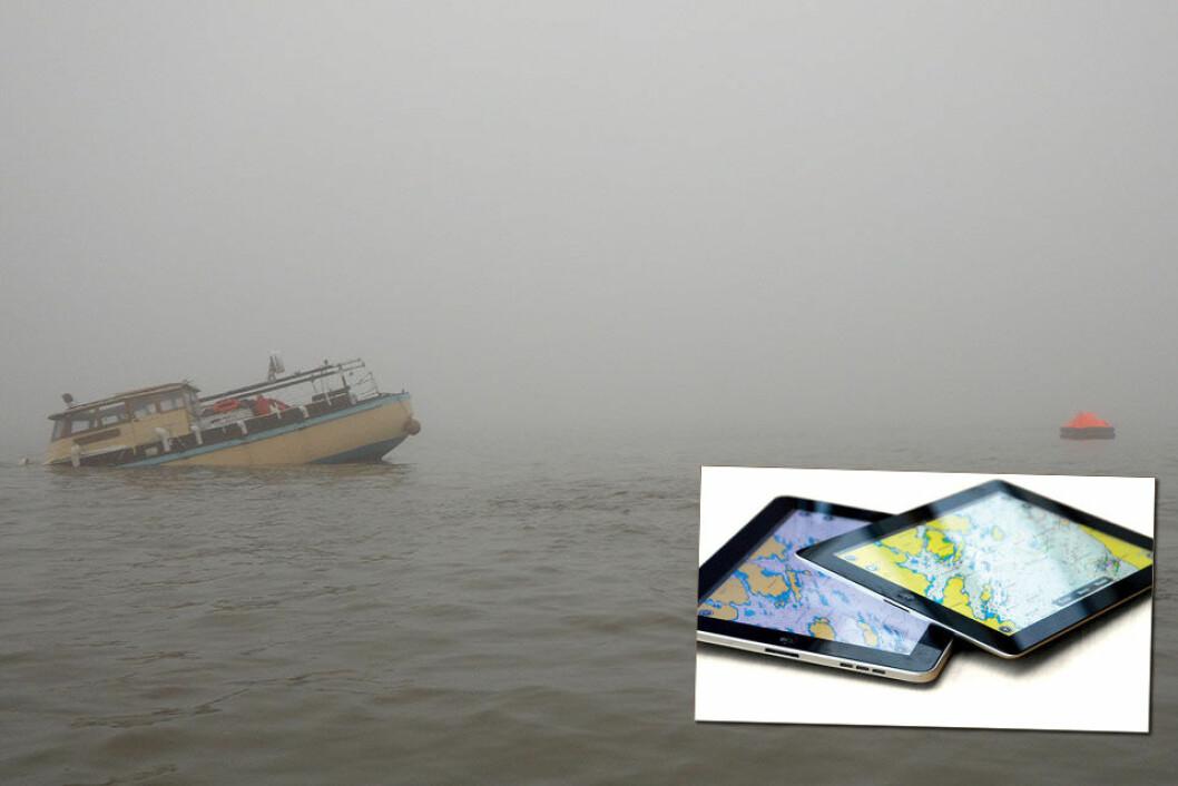 Havarerte: Båtføreren brukte iPad i stedet for med tradisjonelle navigasjonshjelpemidler.