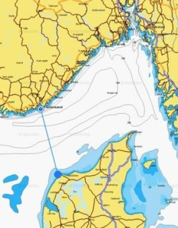 SKAGERRAK: Det er litt over 60 nm fra Klitmøller til Kristiansand. Hadde han bare holdt rett kurs, så ville han klart det.