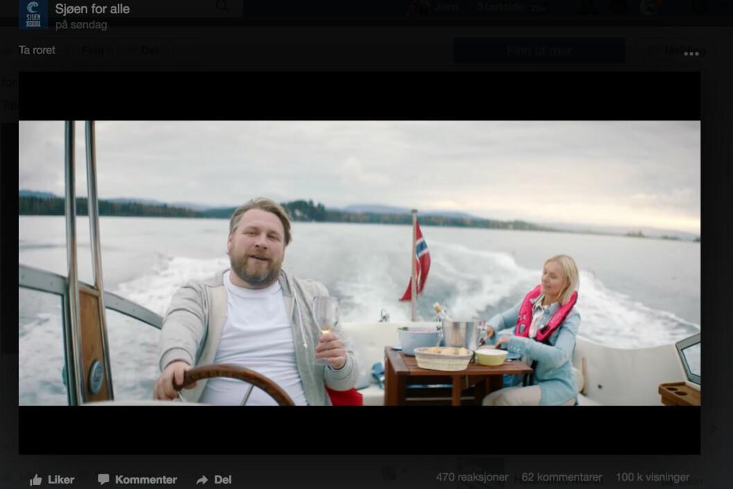 Kampanje: Sjøen for alle kjører kampanje for å få flere kvinner til rors. Hun med rosa vest, han uten, men med et glass i neven.