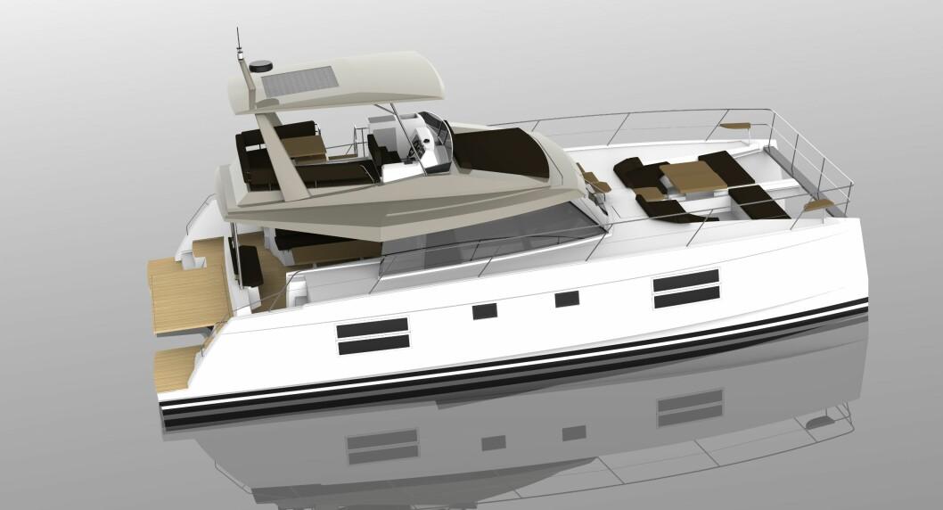 MOTOR: Nautitech 47 Power er første motorbåten fra Bavaria med to skrog. Båten vil bli produsert i Frankrike.