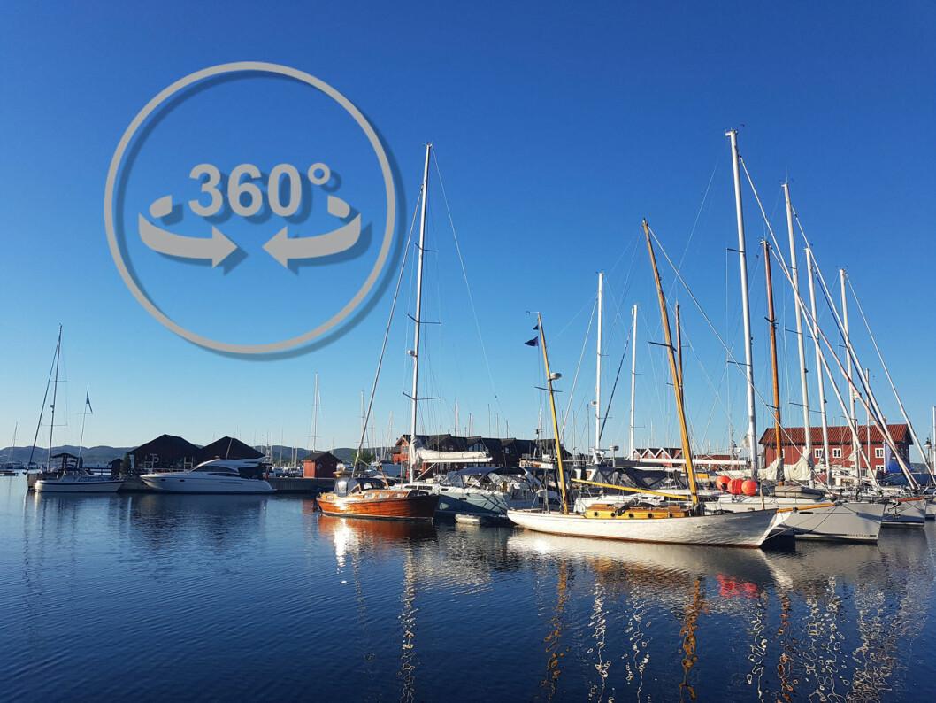 KLIKK DEG RUNDT: Lenger ned i teksten kan du klikke deg rundt i et nettverk av 360-bilder som viser gjestehavne og småbåthavna i Holmestrand.