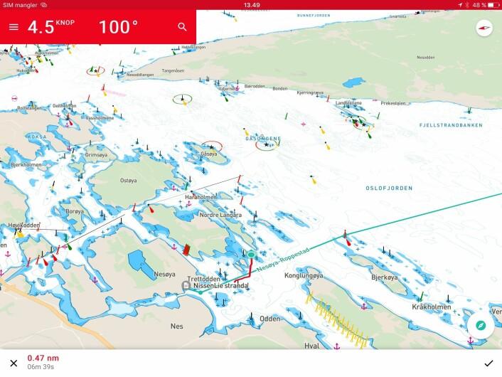 KURS: Du kan velge hvordan kartbildet skal vises. Med kurs opp, og kartet i perspektiv, er det lettere å følge med på hvor man er.