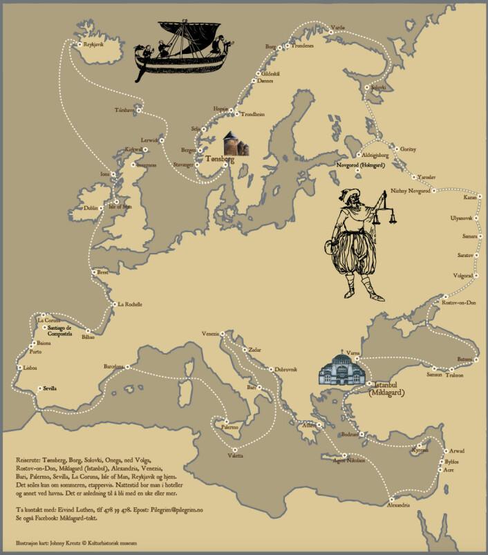 REISERUTE: Kartet viser turen som er planlagt for Klåstadskipet.