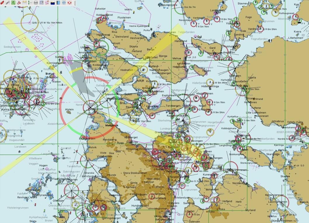 KART: Kart over Stavangerområdet sett fra OpenCPN