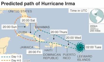 ØDELEGGENDE: Orkanen er på vei vestover. Kommer den over Cuba kan den svekkes, men holder den seg over havet kan den styrkes.
