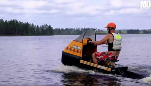 Bygde om snøscooter til vannscoter