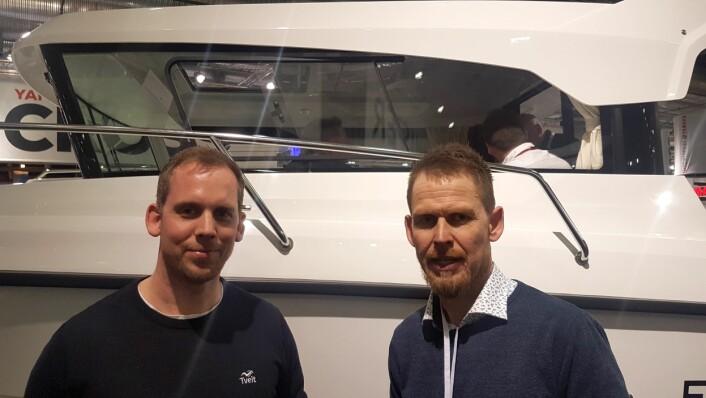 BRØDRENE TVEIT: Finnmaster Pilot er merket som det selges mest av i Norges største båtbutikk.