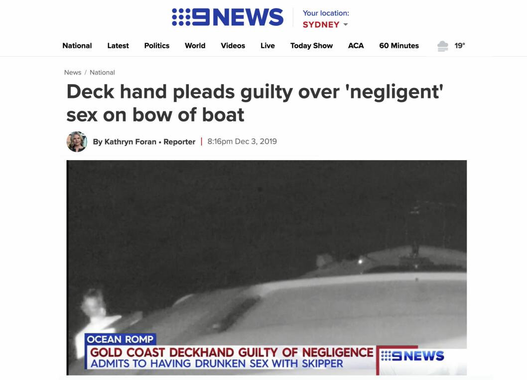 Rettsaken etter båtuhellet ved Gold Cost har fått mye oppmerksomhet i austalsk media. Skjemklipp fra 9news.com
