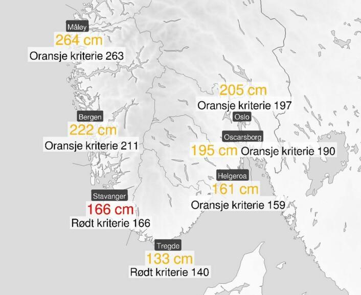 VARSEL: Kartet viser høyeste vannstand i natt.