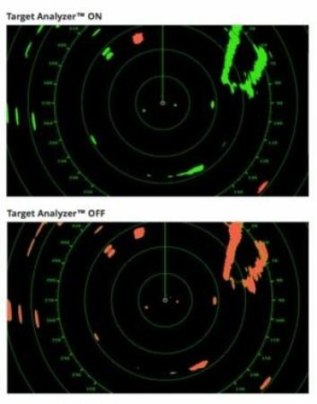 AV/PÅ: Objekter på vei mot radaren blir merket med rødt med funksjonen «Target Analyser» på Furunos nye radar. Funksjonen gjør radaren enklere å bruke, og plukker objekter verdt å følge ...
