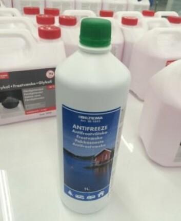 UFARLIG: Det finnes egen frostvæske for drikkevannsystemet, men denne er også basert på glykol.