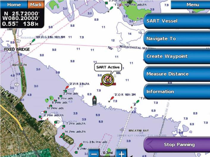 MOB: AIS SART aktiverer ett man-over-bord signal på båtens plotter for dem som har AIS mottaker.