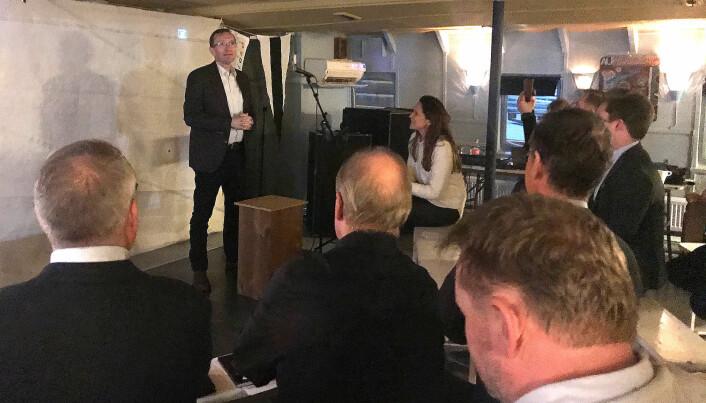 FOREDRAG: Espen Barth Eide holdt innlegg under Elbåtforeningens årsmøte 24. februar.