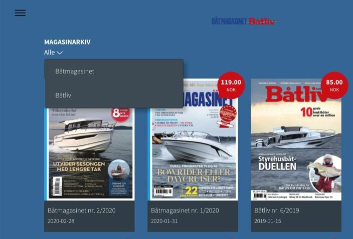 """12. Fra forsiden på """"bladkiosken"""" kan du velge om du vil se alle, bare Båtmagasinet eller bare Båtliv."""