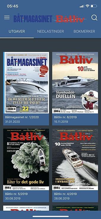 1. Båtmagasinet/Båtliv-appen gir deg en meny (øverst til venstre), noen hurtigvalg mellom arkivet, dine nedlastede utgaver og bokmerker, samt søkefunksjon på hovedsiden.