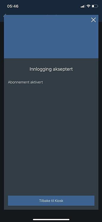"""4. Ved godkjent innlogging kan du gå tilbake til hovedskjermen, """"bladkiosken"""", ved å trykke på knappen i bunnen."""