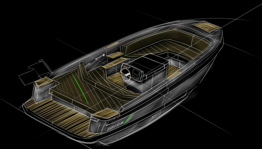 MODERNE SNEKKE: Slik ser konseptskissen ut for Ibiza Boats' elbåtsatsning.