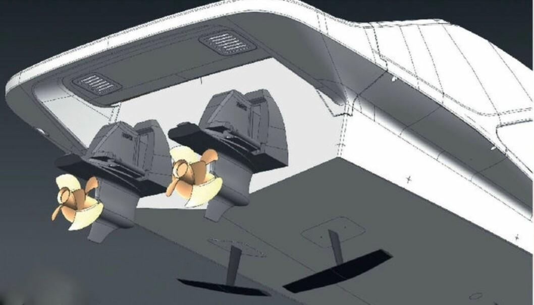 De T-formede foilene er plassert mot akterenden av båten, jobber automatisk for å gi både fart og behagelig gange.