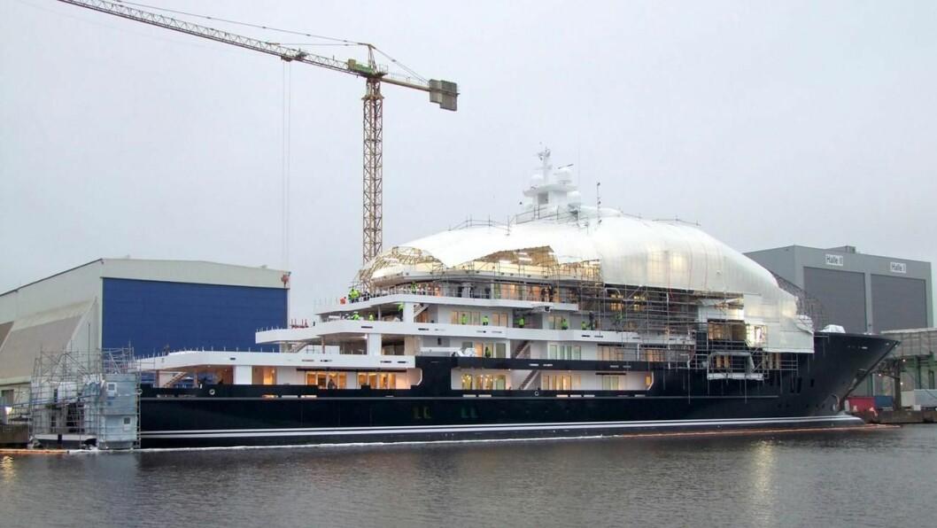 Den 116 meter lange «Ulysses», som nå nærmer seg ferdiggjøring i Tyskland.