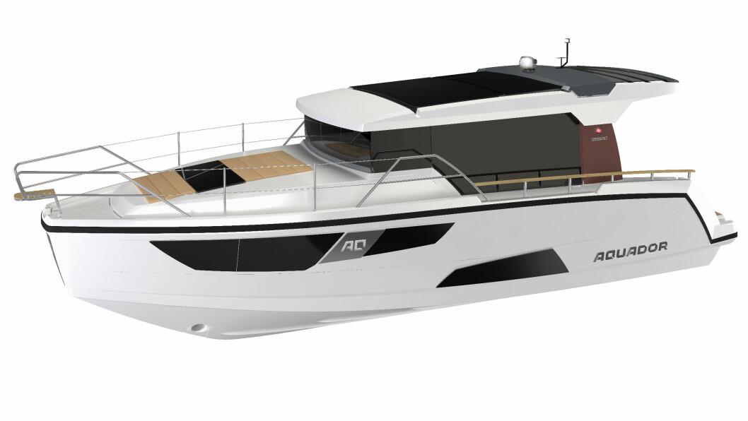 Aquador 35 AQ vises for første gang på båtmessen i Düsseldorf i januar.