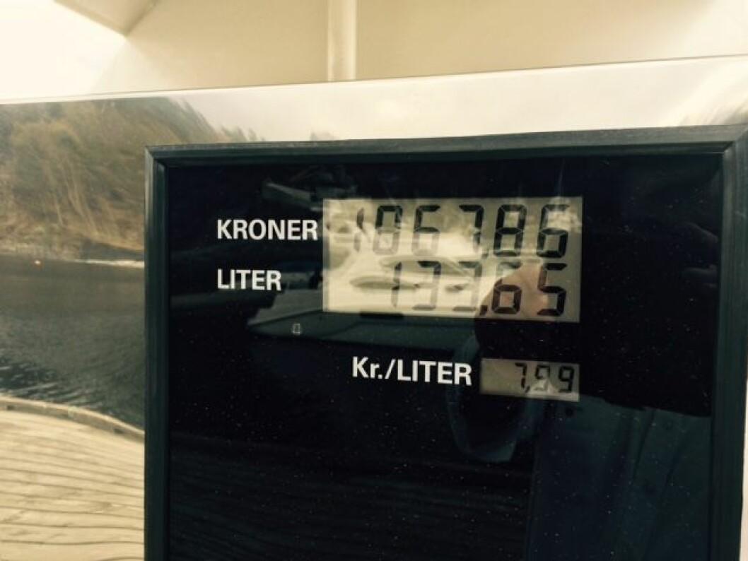 LENGE SIDEN: Det er mange år siden vi så denne dieselprisen på en sjøpumpe i Norge.