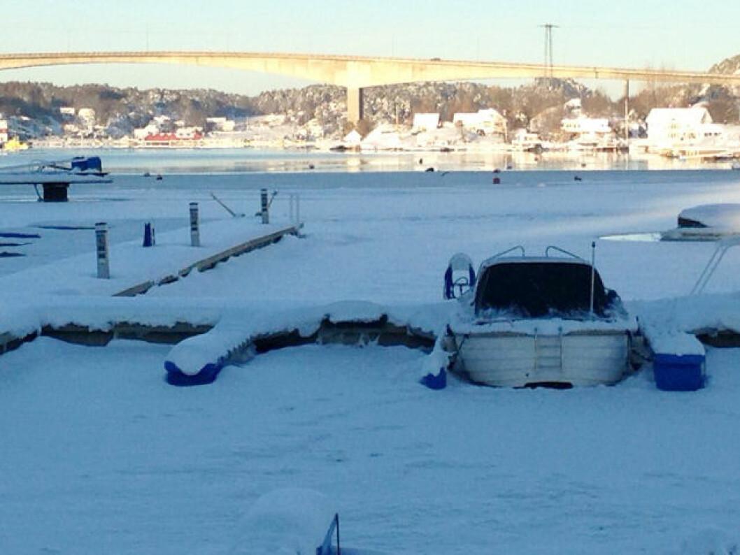 20 MINUS: Mens vi venter på at isen skal smelte i Vrengensundet kan vi varme oss på våres mange båtmesser. (Foto: Amund Rich. Løken).