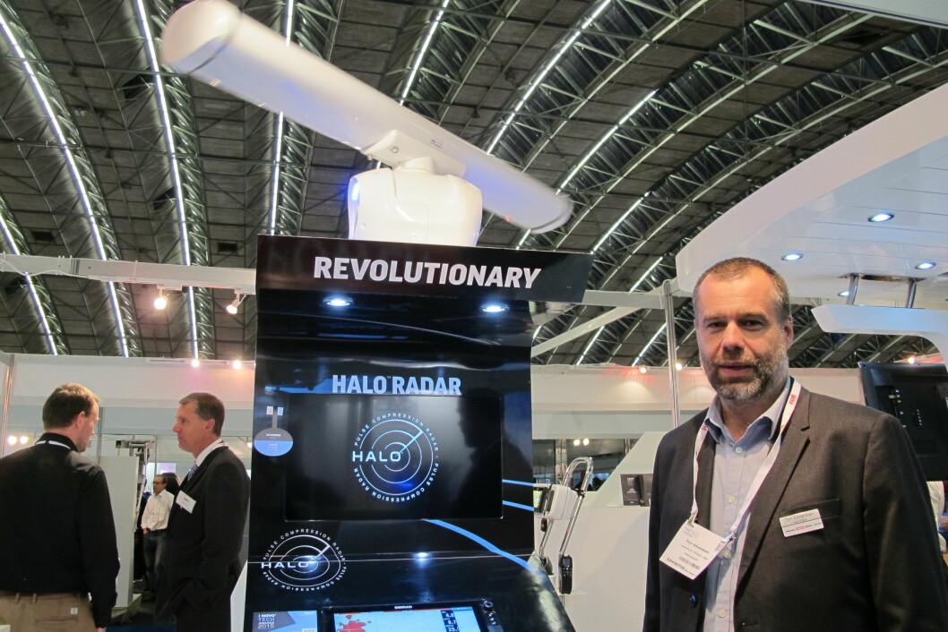 RADAR: Den nye radaren er utviklet av Navico i Egersund, sier utviklingssjef Tom H. Edvardsen hos Navico. (Foto: Atle Knutsen).