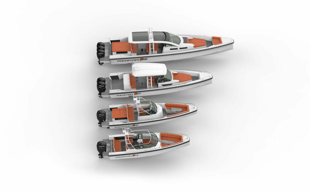 MODELLENE: Axopar har nye modeller fra 24 til 46 fot.
