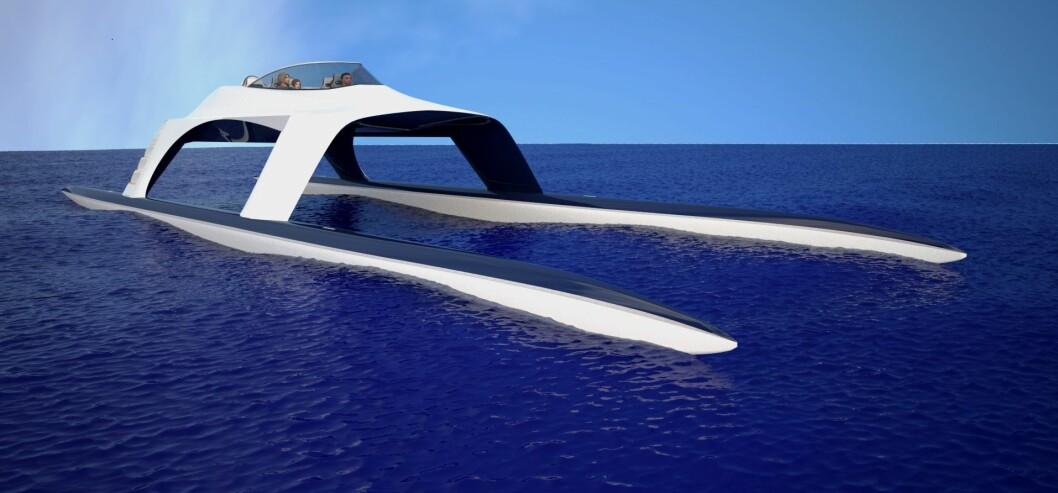 KATAMARAN: Glider SS18 er en nykonstruert, merkelig farkost som skal kunne skjære gjennom stor sjø i høy hastighet.