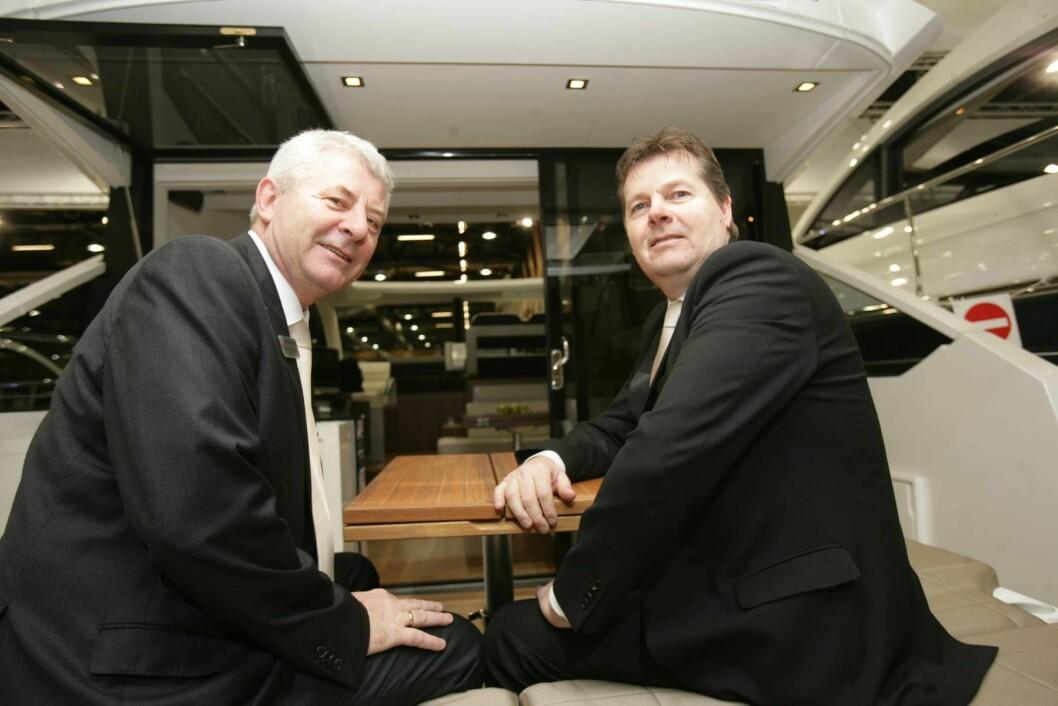 GLADE GUTTER:Roland Czybulla (t.v.) og Egil Mathisen i Stavanger Marinesenter er godt fornøyd med det som skjer i storbåtmarkedet for tiden
