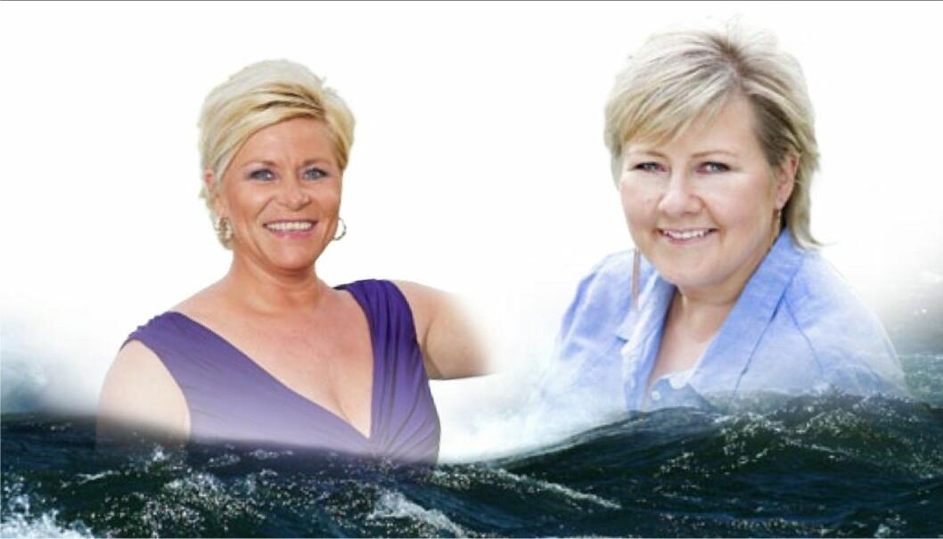 Finansminister Siv Jensen (t.v.) og statsminister Erna Solberg  fjerner ikke den ekstra avgiften på 1 krone som ble lagt på båtdieselen. I steden økes den med 2,1 prosent.