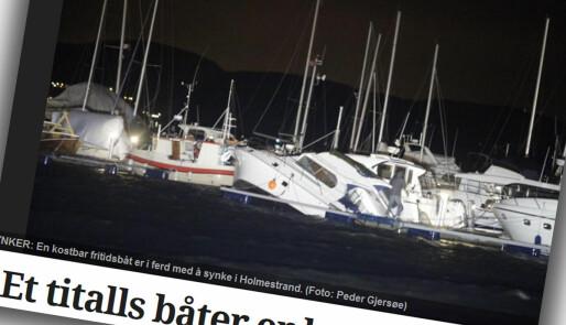 Vinden herjet med båtene i Holmestrand