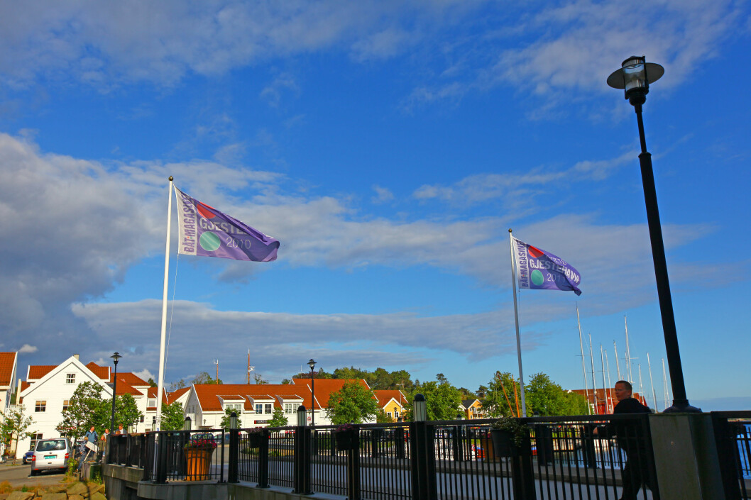 BESTE GJESTEHAVN: Farsund har vunnet kåringen to ganger tidligere, både i 2010 og 2011. Det er de to flaggene ved Gåsholmen synlige bevis på.