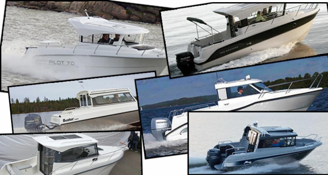 Finnmaster, Askeladden, Buster, AMT, Capelli og Yamarin tilbyr alle såkalte styrhusbåter med overnattingsplass. Båttypen har blitt svært populær de siste årene.
