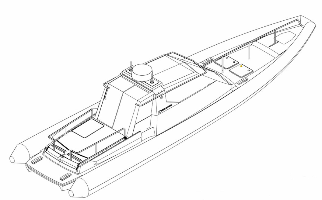 Dette er skissen til den nye politibåten i Bergen. Båten er bygget på skroget til 36 Supersport, men politiets versjon får overbygg, som tegningen viser.