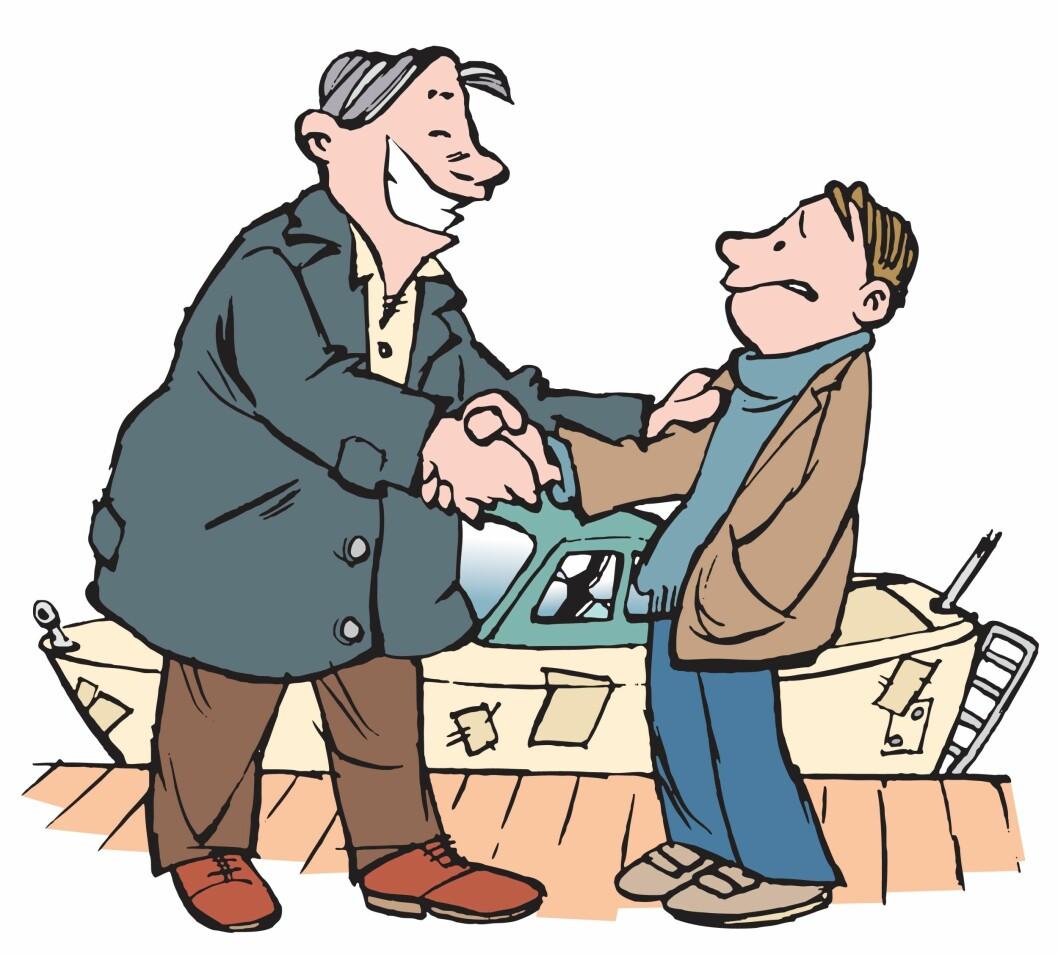 Ta med en båtkyndig når du skal kjøpet båt, og bruk alltid skriftlig kontrakt enten du skal kjøpe eller selge. (Tegning: Morten Tefre)
