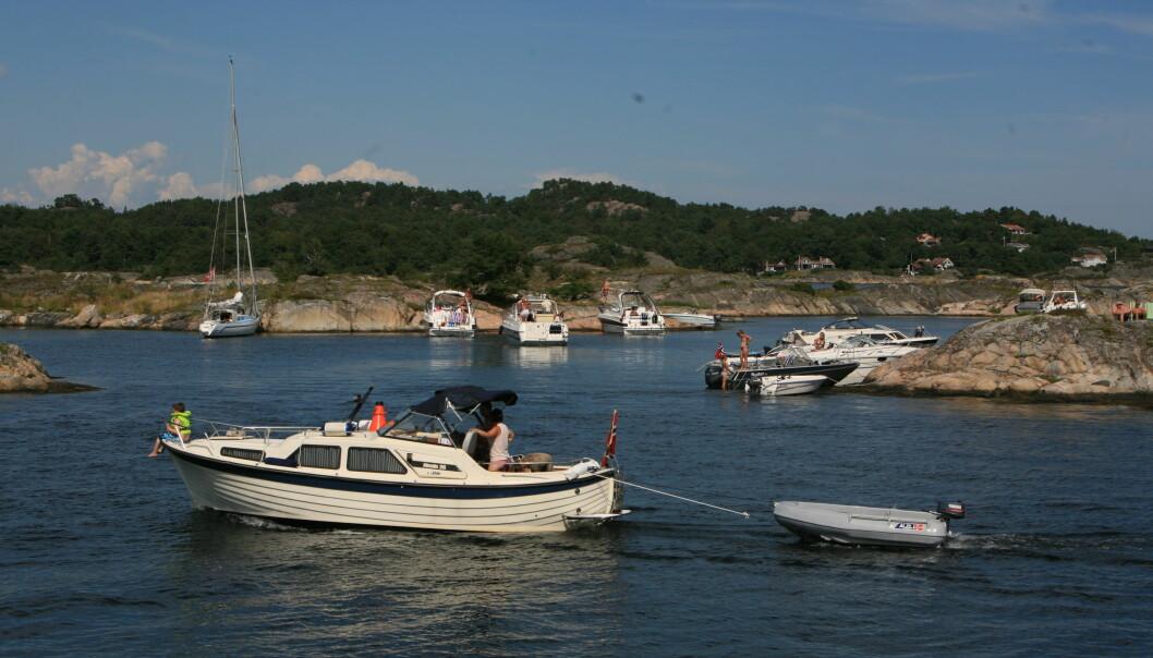 POPULÆRT: Det kryr av båter på fine dager i «Hampen» (Hampholmsundet) og øyene rundt like utenfor Grimstad.