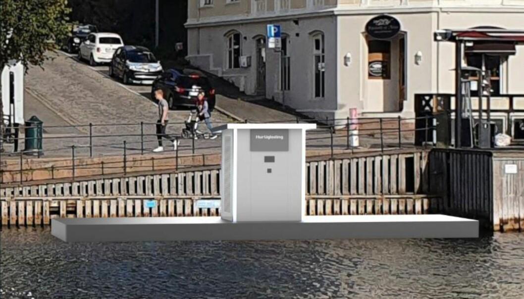 UTFORDRENDE: Arendal Havn utreder nå muligheten for å etablere en hurtigladestasjon for el-båter i Pollen. (ILLUSTRASJON: ARENDAL HAVN)