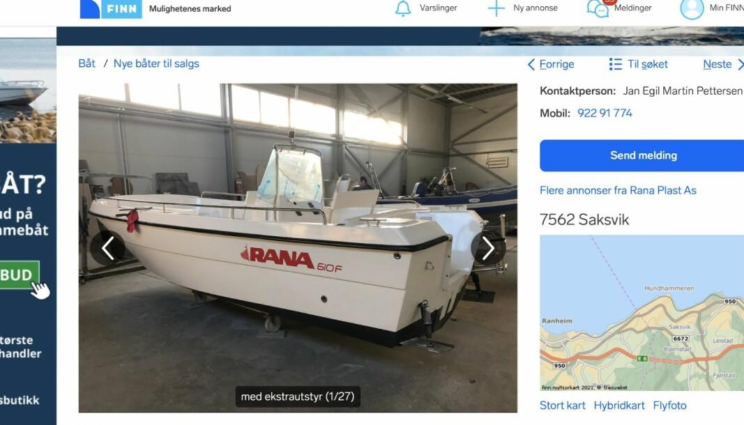 TILBAKETREKKING: Rana Plast har ikke gitt Sjøfartsdirektoratet tilstrekkelig dokumentasjon på hvordan den nye Rana 610 F er produsert, og båten er derfor blitt gjenstand for tilbaketrekking.
