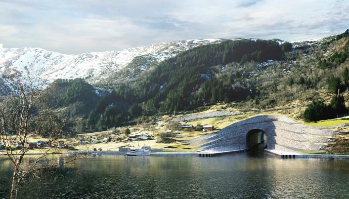 KLARSIGNAL: Kystverket har fått klarsignal for oppstart av forarbeidet for bygging av Stad skipstunnel. (Illustrasjon: Kystverket/Snøhetta)